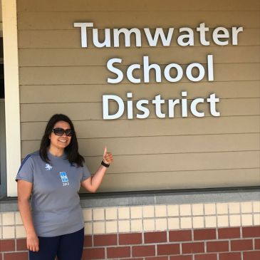 Melissa loves Tumwater schools! Here swung by the Tumwater School District office for a quick pic while out on a jog in June 2017.